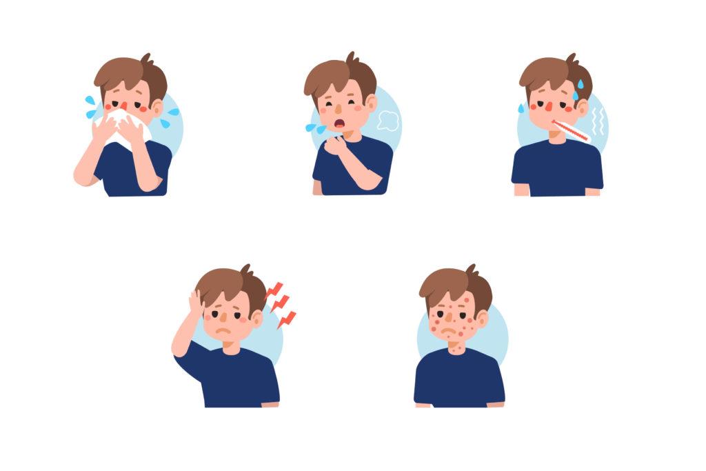 imagem ilustrativa de uma criança com os sintomas do sarampo