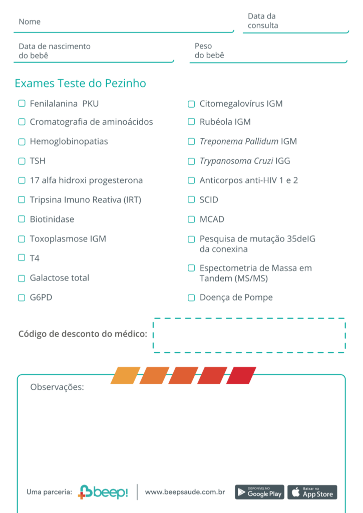 Tabela da Beep Saúde para agendamento do Teste do Pezinho