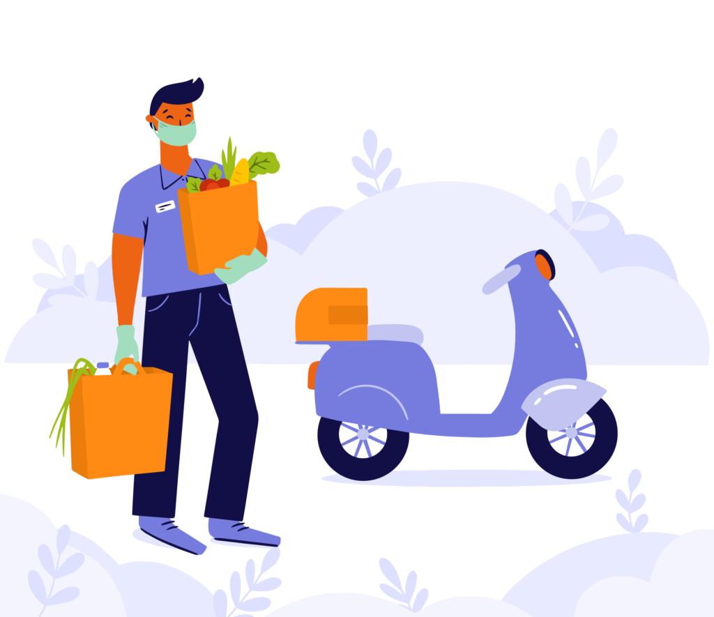 Puerpério - ilustração que mostra um homem em pé ao lado de uma moto, carregando suas sacolas de compras