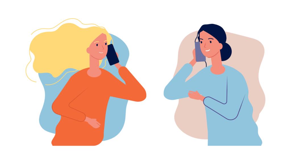 Puerpério - ilustração que mostra duas mulheres conversando ao telefone