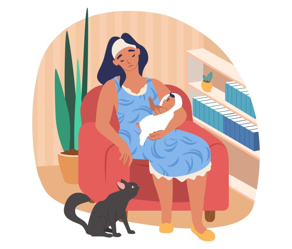 Puerpério - Ilustração de uma mãe aparentemente cansada, sentada em uma poltrona segurando seu bebê