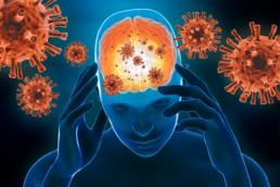 ilustração mostrando o cérebro sendo infectado por vírus